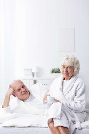 love image: Image of content mature man and woman in love