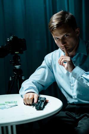 hitman: Image of secret agent and surveillance mission
