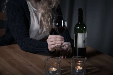 drinking problem: Young woman has a serious problem with drinking