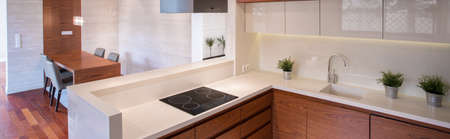 clean home: Clean kitchen with white tops in contemporary elegant house Stock Photo