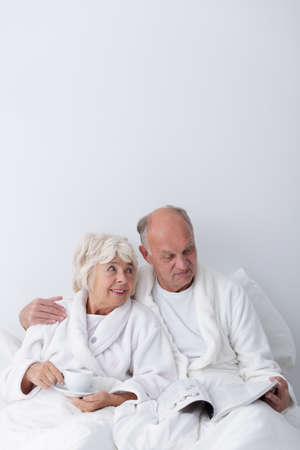 romance image: Image of elderly man and woman in love Stock Photo