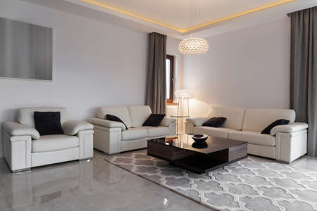 leather furniture: White leather furniture in elegant modern lounge
