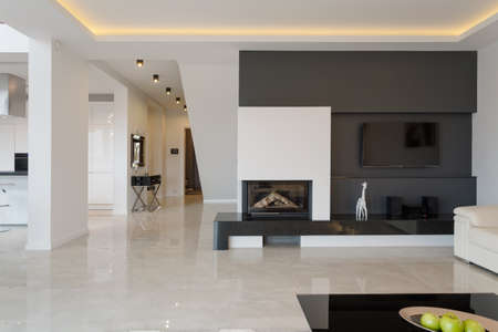 stone fireplace: Modern house in minimalistic black and white design