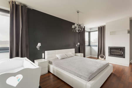 master bedroom: Luxurious and spacious master bedroom in modern residence Stock Photo