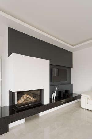 Modern design fireplace in posh living room