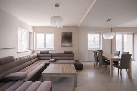 drawing room: Comfortable corner sofa in luxury living room