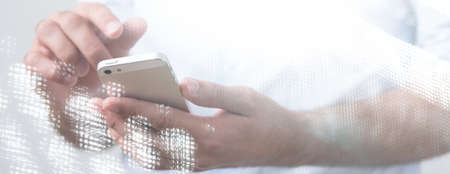 someone: Young man is texting to someone special