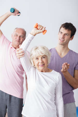 people   lifestyle: Photo of happy elderly couple and sporty lifestyle Stock Photo