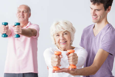 care about the health: Photo of happy seniors take care about physical health