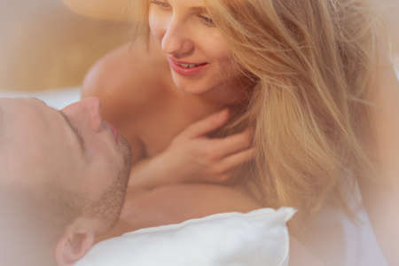 man and woman sex: Beauty wife and husband during intimate scene Stock Photo