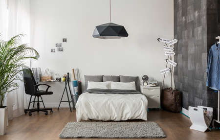 king size: Image of new design bedroom with king size bed