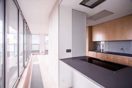 new home: View of stylish kitchen in modern house Stock Photo