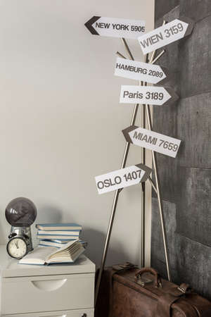 accommodation space: Photo of decorative signpost and vintage suitcase