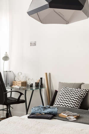 my home: Image of stylish combined bedroom and home office