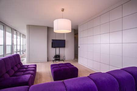 contemporary living room: Horizontal view of contemporary living room interior Stock Photo