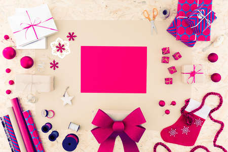 lots: Pink paper and lots of pink christmas decorations