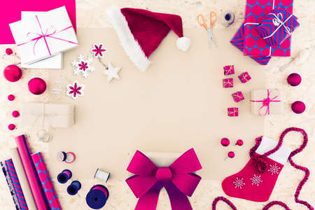 pink christmas: Pink christmas accessories and decoration on table
