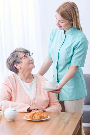 home care: Picture of elderly woman with professional private home care
