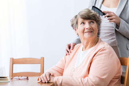 cheerfulness: Image of cheerfulness old woman with health problem