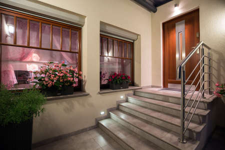 facade: Grey and modern stairs to the house Stock Photo