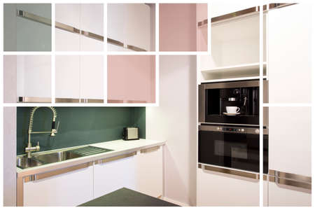 bright colors: Beautifully designed modern bright kitchen in white colors