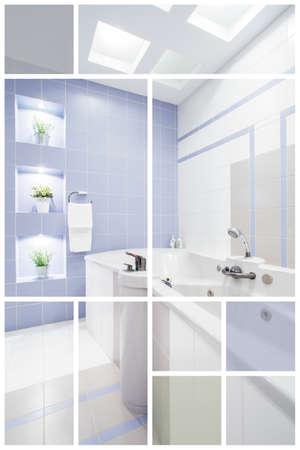 washbasins: Side view on washbasins in luxury bathroom
