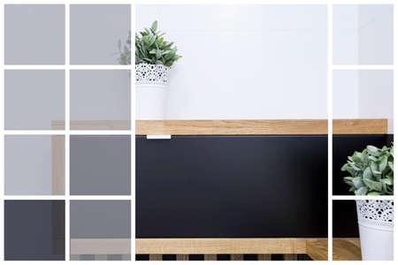 flowerpots: Flowerpots on black wooden cabinet with white walls background