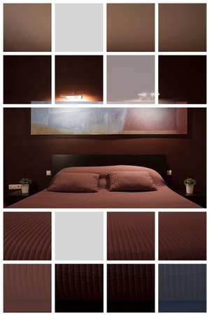 bedroom wall: Bed in reddish designed bedroom illuminated with wall lamp