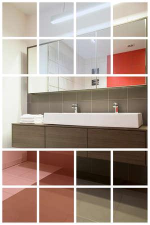 washbasins: Two washbasins with mirror above in modern restroom