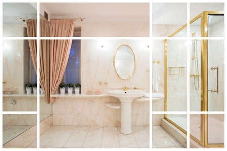 luxurious: Large luxurious bathroom in modern expensive apartment Stock Photo