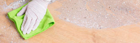 very dirty: Precise maid is cleaning very dirty furnitures Stock Photo