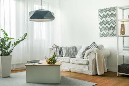 Kleine comfortabele woonkamer met houten vloer