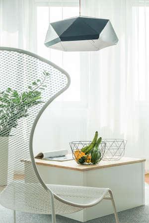 modern living room: Vertical photo of white modern living room