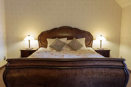 headrest: Bedroom in vintage design with stylish bed