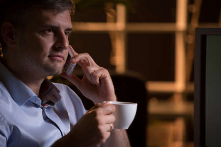 coffee hour: Busy boss is having a break for a call