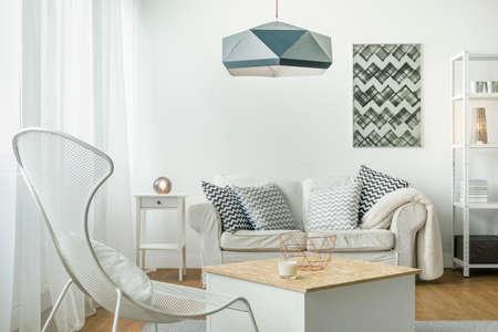 シンプルな明るい居間の整理のためのアイデア