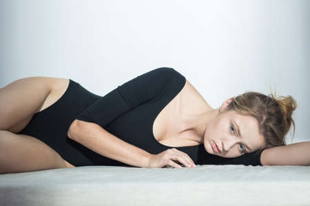 complexes: Image of slim sad woman woth complexes