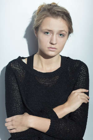 feminity: Image of sad young woman with mental disorder Stock Photo