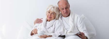 bed time: Husband and wife are spending time together Stock Photo