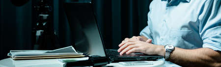 private information: Private detective looking in internet some information