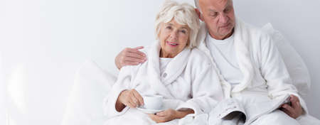 love very: Old couple is very happy and still in love Stock Photo