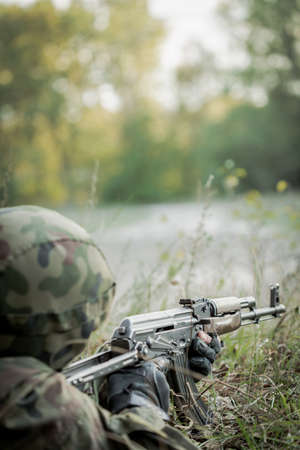 khakis: Photo of army soldier during search operation