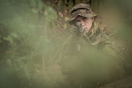 commando: Photo of camouflaged commando assault in forest