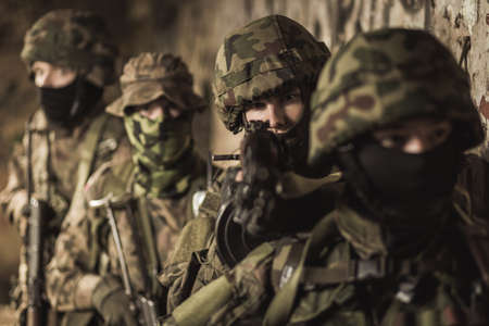 defend: Hard army training to defend their country
