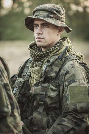 fatigues: Portrait of soldier in battle dress uniform