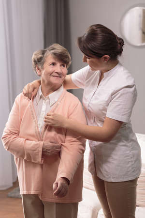 old lady: Image of senior having professional medical home care