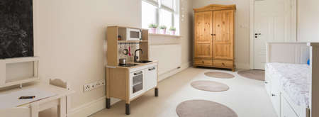 stimulating: Panoramic view of a  room stimulating development of child
