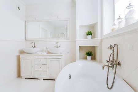 washbasins: Horizontal image of glamorous bathroom full of sun light Stock Photo
