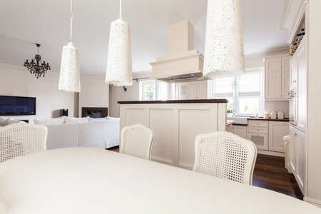 dinning: Image of fair and romantic kitchen with dinning room
