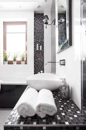 Interior of modern black and white washroom